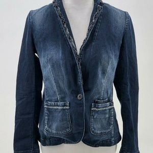 banana republic stretch ruffle neck jean jacket 2